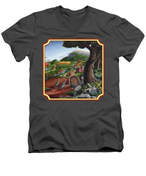 Wild Turkeys In The Hills Country Landscape - Square Format Men's V-Neck T-Shirt by Walt Curlee