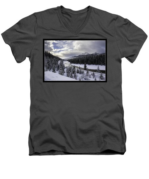 Winter In The Rockies Men's V-Neck T-Shirt by J and j Imagery