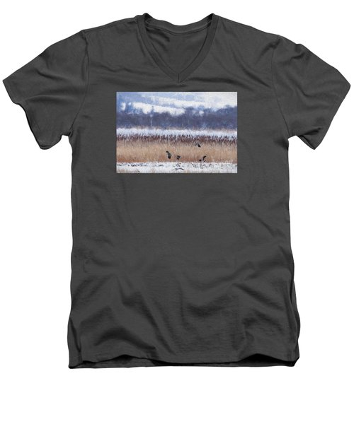 Winter Lapwings Men's V-Neck T-Shirt by Liz Leyden