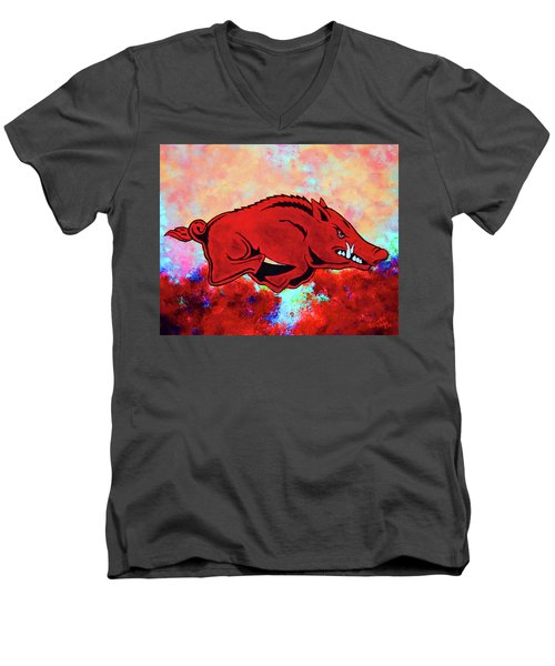 Woo Pig Sooie 3 Men's V-Neck T-Shirt by Belinda Nagy