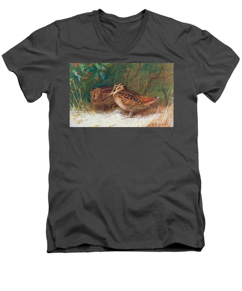 Woodcock In The Undergrowth Men's V-Neck T-Shirt by Archibald Thorburn