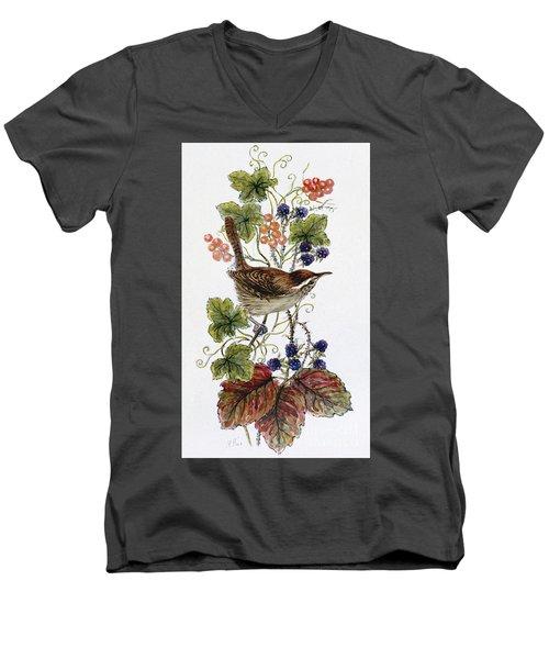 Wren On A Spray Of Berries Men's V-Neck T-Shirt by Nell Hill