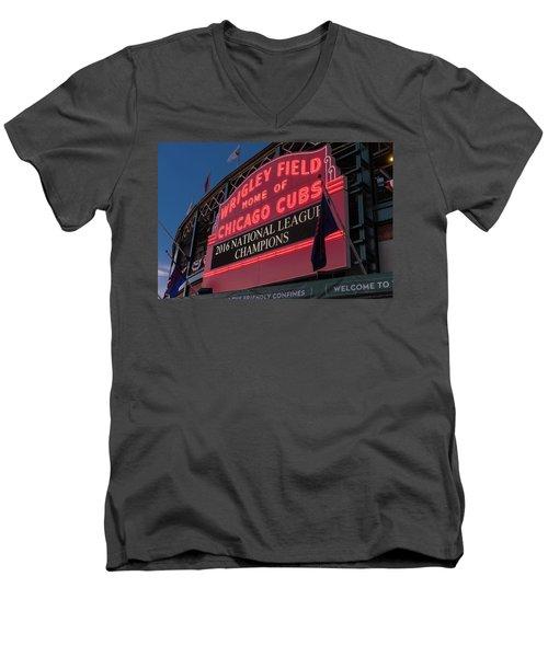Wrigley Field Marquee Cubs National League Champs 2016 Men's V-Neck T-Shirt by Steve Gadomski