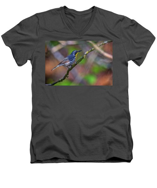 Yellow-throated Warbler Men's V-Neck T-Shirt by Rick Berk