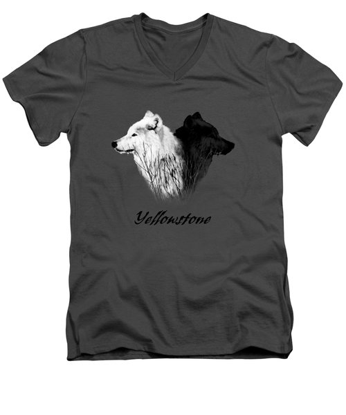 Yellowstone Wolves T-shirt Men's V-Neck T-Shirt by Max Waugh