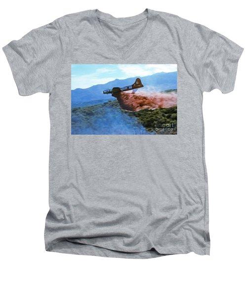 Men's V-Neck T-Shirt featuring the photograph  B-17 Air Tanker Dropping Fire Retardant by Bill Gabbert