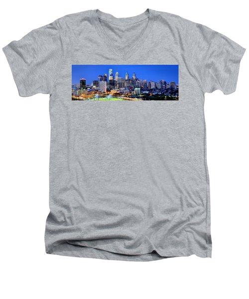 Philadelphia Skyline At Night Evening Panorama Men's V-Neck T-Shirt by Jon Holiday