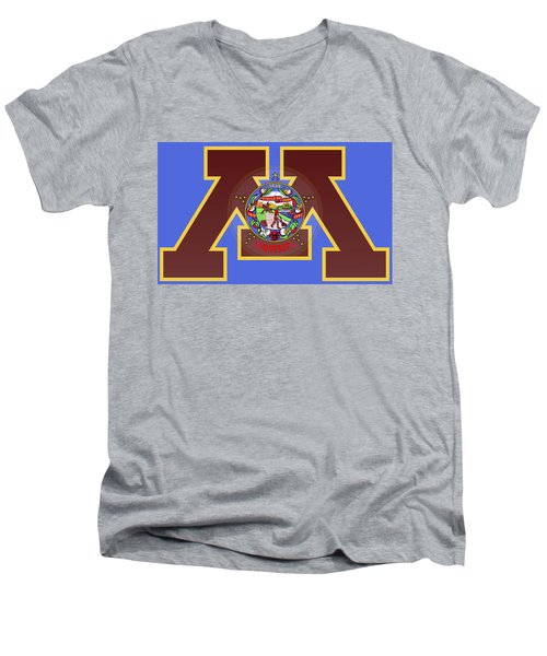 U Of M Minnesota State Flag Men's V-Neck T-Shirt by Daniel Hagerman