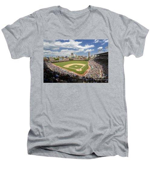 0415 Wrigley Field Chicago Men's V-Neck T-Shirt by Steve Sturgill