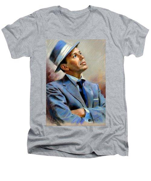 Frank Sinatra  Men's V-Neck T-Shirt by Ylli Haruni