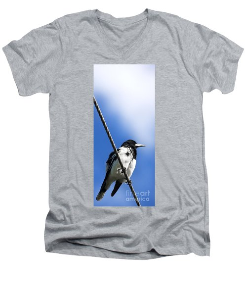 Magpie Up High Men's V-Neck T-Shirt by Jorgo Photography - Wall Art Gallery