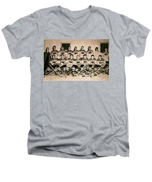 University Of Michigan Hockey Team 1947 Men's V-Neck T-Shirt by Mountain Dreams