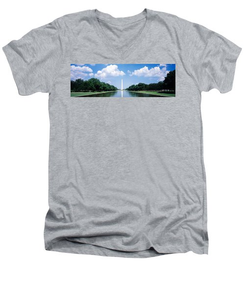 Washington Monument Washington Dc Men's V-Neck T-Shirt by Panoramic Images