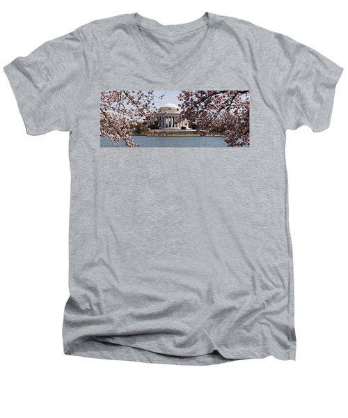 Cherry Blossom Trees In The Tidal Basin Men's V-Neck T-Shirt by Panoramic Images