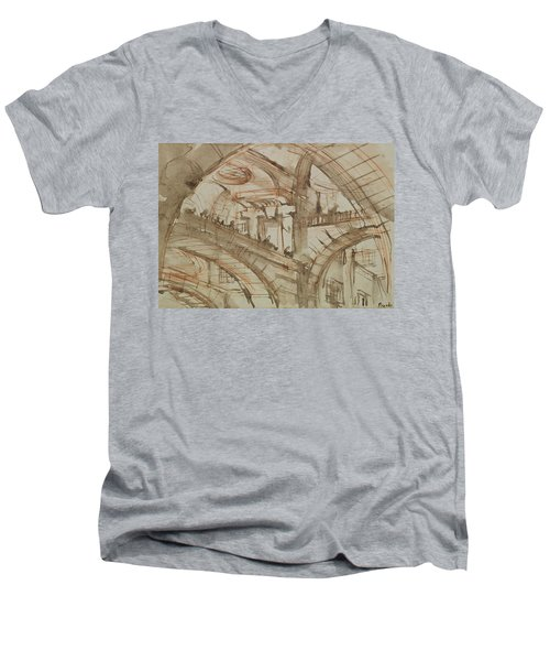 Drawing Of An Imaginary Prison Men's V-Neck T-Shirt by Giovanni Battista Piranesi