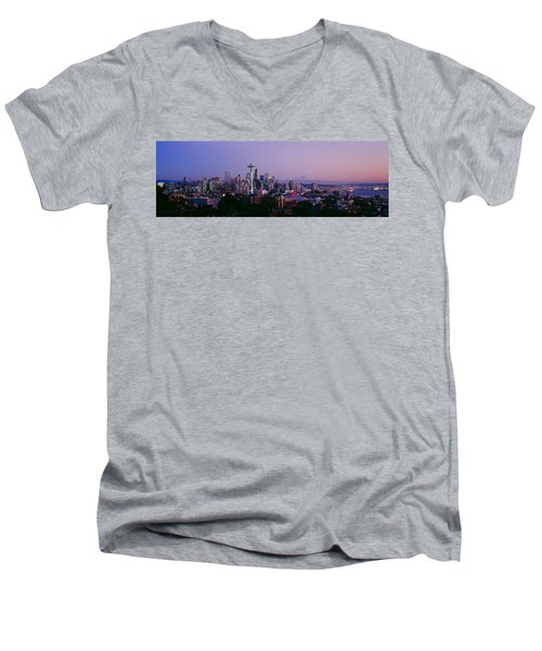 High Angle View Of A City At Sunrise Men's V-Neck T-Shirt by Panoramic Images