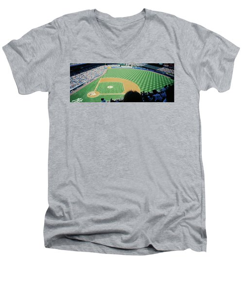 High Angle View Of Spectators Watching Men's V-Neck T-Shirt by Panoramic Images