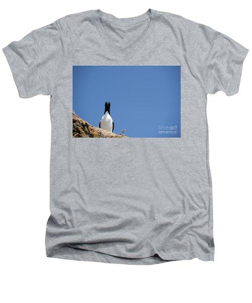 A Curious Bird Men's V-Neck T-Shirt by Anne Gilbert