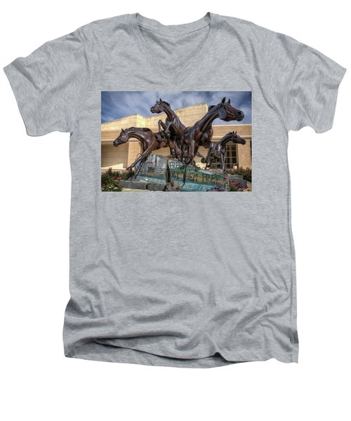 A Monument To Freedom Men's V-Neck T-Shirt by Joan Carroll