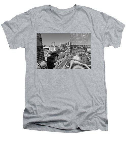 Aerial Photography Downtown Nashville Men's V-Neck T-Shirt by Dan Sproul