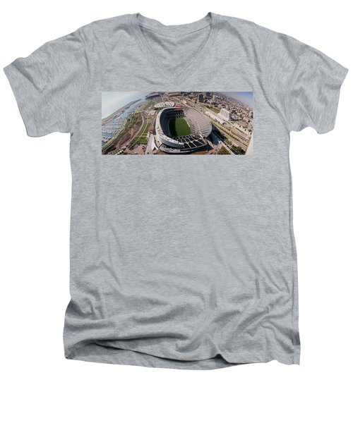 Aerial View Of A Stadium, Soldier Men's V-Neck T-Shirt by Panoramic Images
