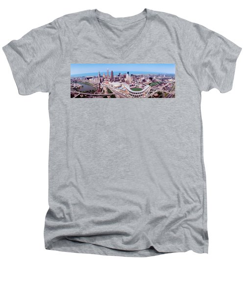 Aerial View Of Jacobs Field, Cleveland Men's V-Neck T-Shirt by Panoramic Images