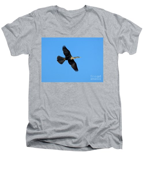 Anhinga Female Flying Men's V-Neck T-Shirt by Anthony Mercieca