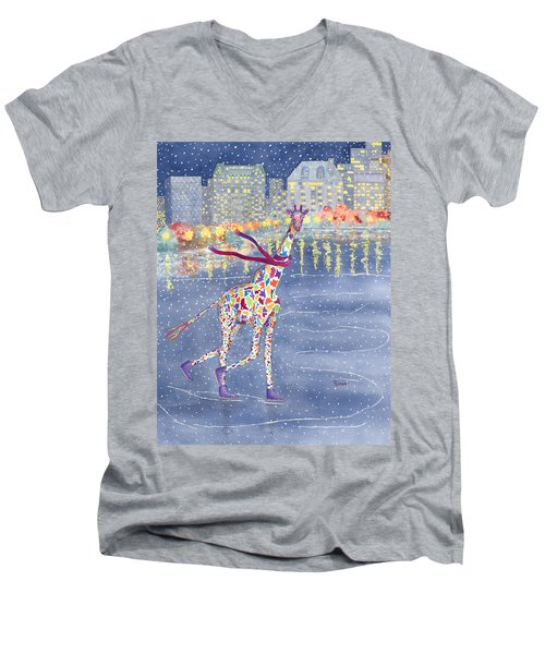 Annabelle On Ice Men's V-Neck T-Shirt by Rhonda Leonard