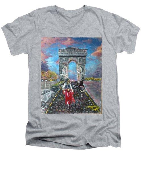 Arc De Triomphe Men's V-Neck T-Shirt by Alana Meyers