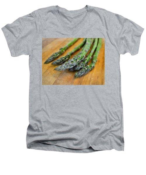 Asparagus Men's V-Neck T-Shirt by Michelle Calkins