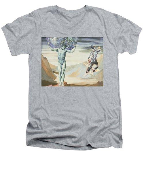 Atlas Turned To Stone, C.1876 Men's V-Neck T-Shirt by Sir Edward Coley Burne-Jones