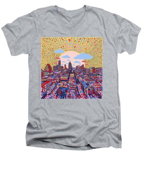 Austin Texas Abstract Panorama 2 Men's V-Neck T-Shirt by Bekim Art