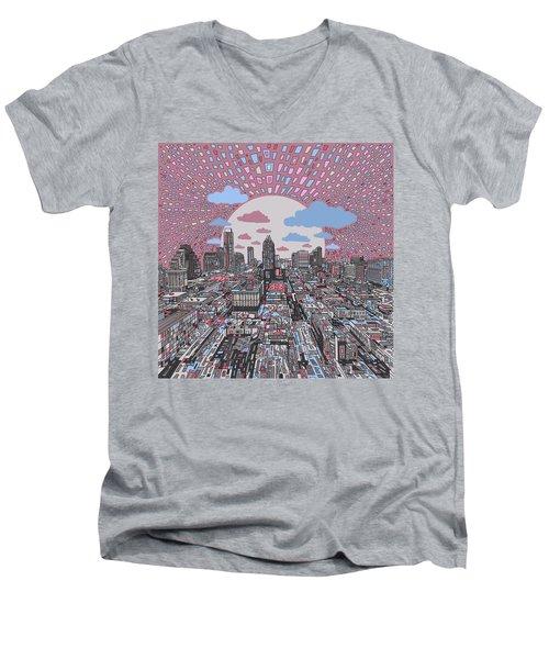 Austin Texas Abstract Panorama 3 Men's V-Neck T-Shirt by Bekim Art