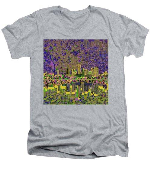 Austin Texas Skyline Men's V-Neck T-Shirt by Bekim Art