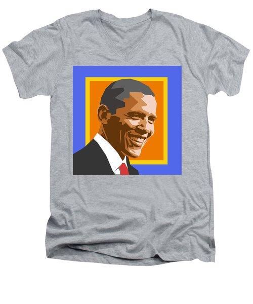 Barack Men's V-Neck T-Shirt by Douglas Simonson