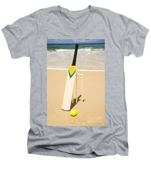 Bat Ball And Stumps Men's V-Neck T-Shirt by Jorgo Photography - Wall Art Gallery