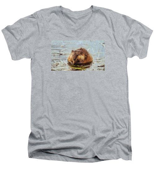 Beaver Portrait On Canvas Men's V-Neck T-Shirt by Dan Sproul