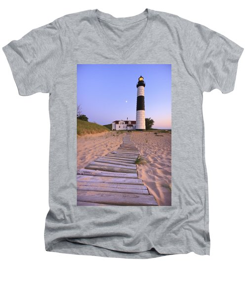 Big Sable Point Lighthouse Men's V-Neck T-Shirt by Adam Romanowicz