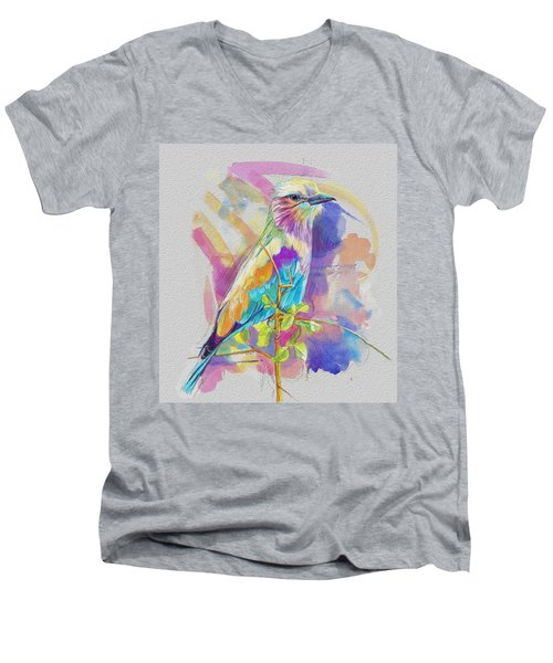 Bird On A Twig Men's V-Neck T-Shirt by Catf