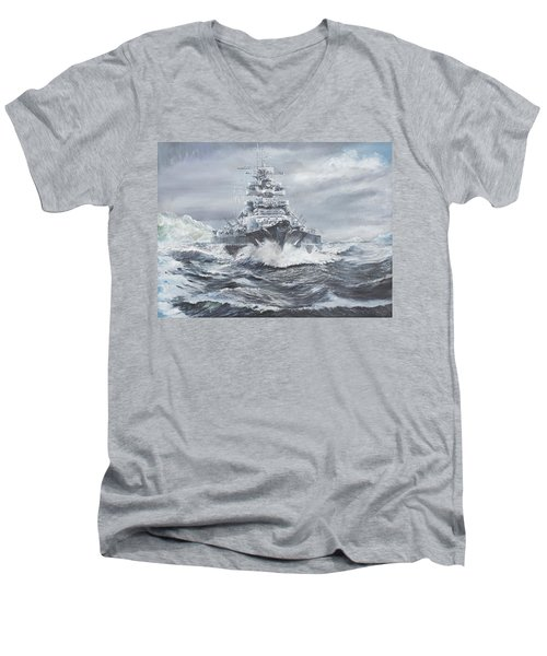 Bismarck Off Greenland Coast  Men's V-Neck T-Shirt by Vincent Alexander Booth