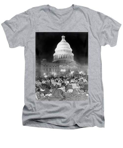 Bonus Army Sleeps At Capitol Men's V-Neck T-Shirt by Underwood Archives