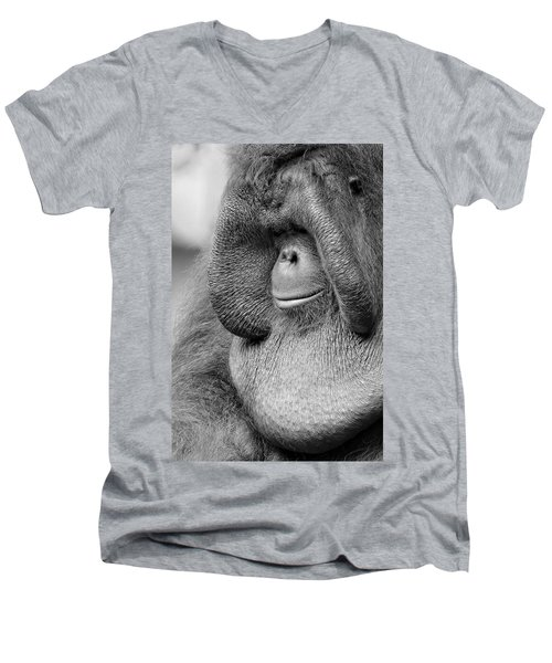 Bornean Orangutan V Men's V-Neck T-Shirt by Lourry Legarde