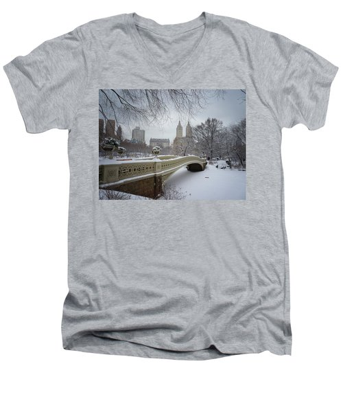 Bow Bridge Central Park In Winter  Men's V-Neck T-Shirt by Vivienne Gucwa
