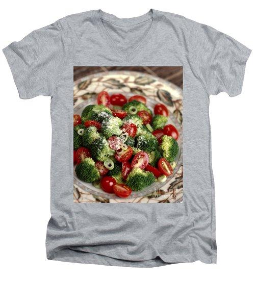 Broccoli And Tomato Salad Men's V-Neck T-Shirt by Iris Richardson