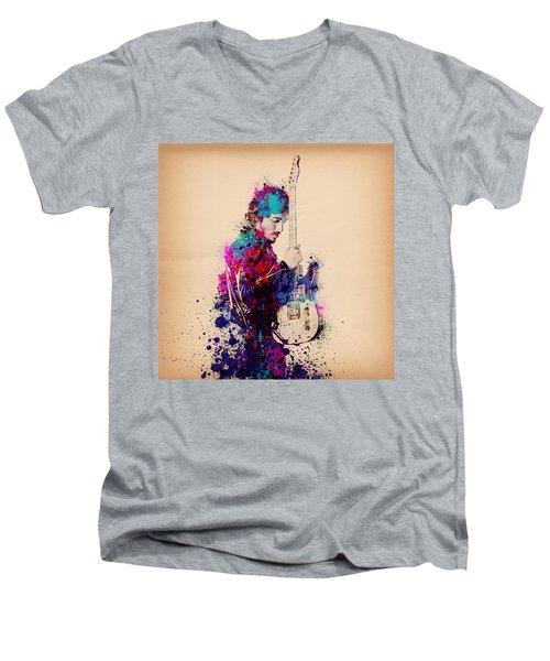 Bruce Springsteen Splats And Guitar Men's V-Neck T-Shirt by Bekim Art