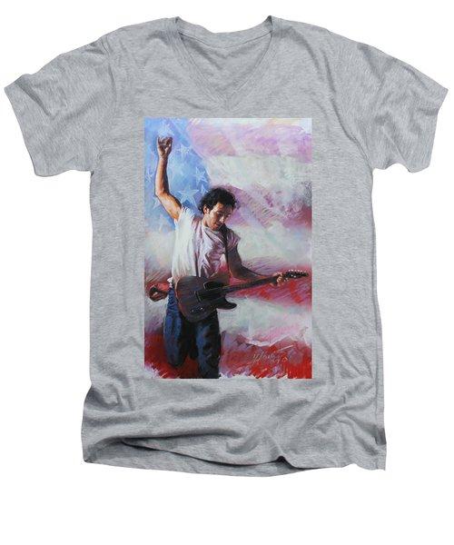 Bruce Springsteen The Boss Men's V-Neck T-Shirt by Viola El