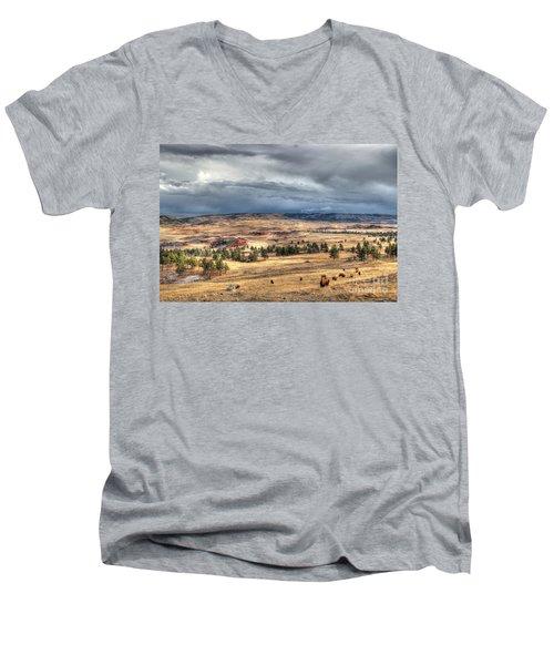 Men's V-Neck T-Shirt featuring the photograph Buffalo Before The Storm by Bill Gabbert