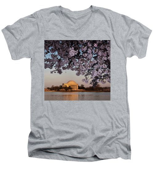 Cherry Blossom Tree With A Memorial Men's V-Neck T-Shirt by Panoramic Images