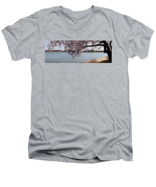 Cherry Blossom Trees With The Jefferson Men's V-Neck T-Shirt by Panoramic Images