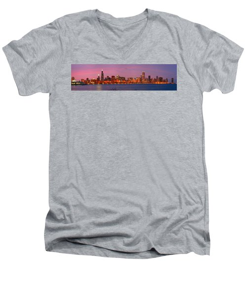 Chicago Skyline At Dusk 2008 Panorama Men's V-Neck T-Shirt by Jon Holiday